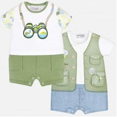 Mayoral-Бебешки летен гащеризон с щампа елече с къси панталонки