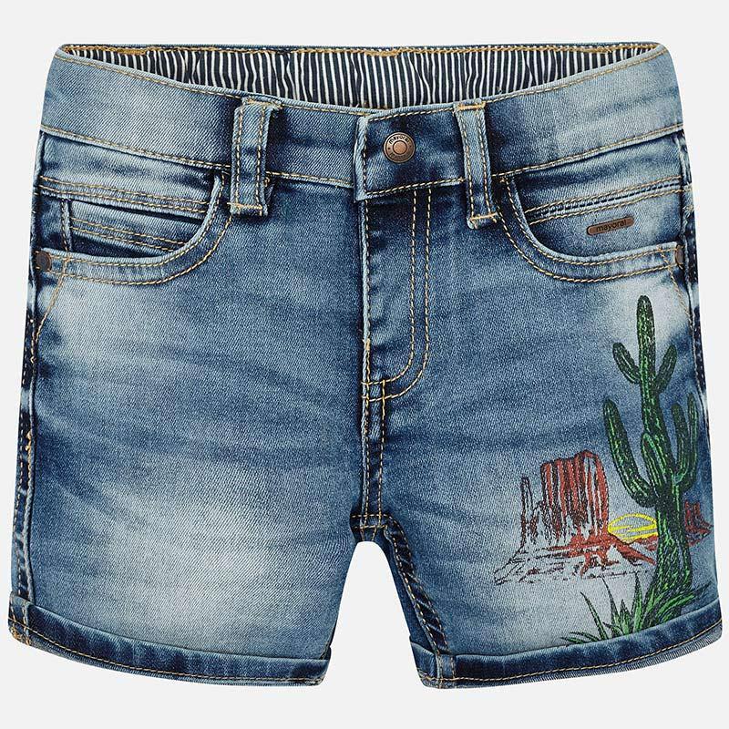 Mayoral-Къси дънкови панталони с цветен принт