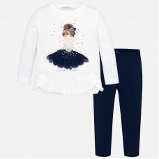 Mayoral-Комплект блуза с клин и принт кукла с листа
