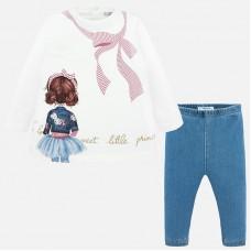 Mayoral-Комплект блуза с принт момиче и клин.