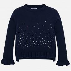 Mayoral-Пуловер с волан и камъчета