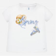 Mayoral-Блуза с къс ръкав с надпис Spring и цветен принт