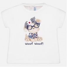 Mayoral-Блуза с къс ръкав  и цветен принт кученце