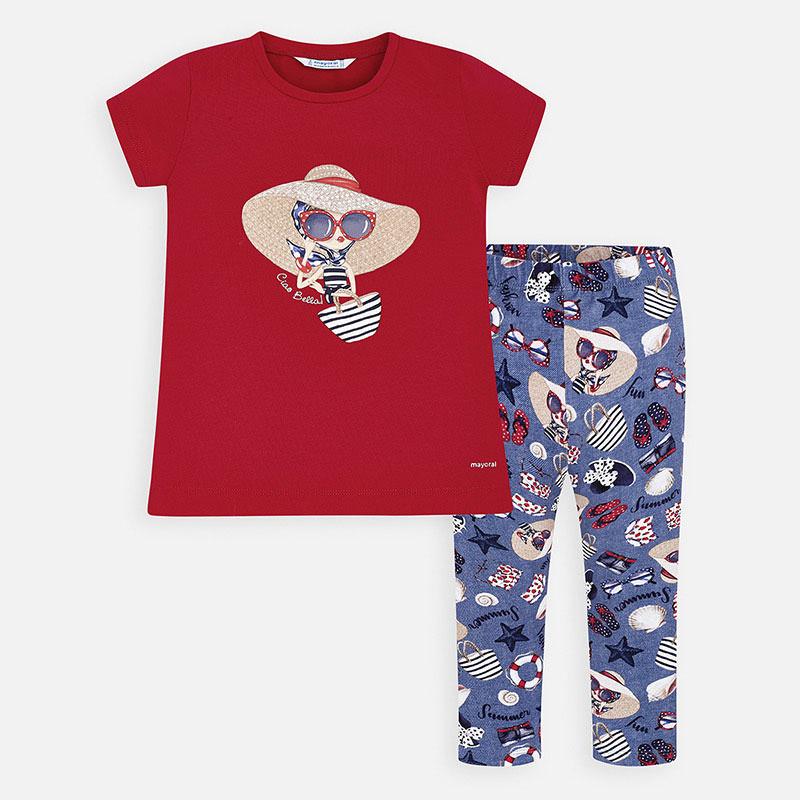 Mayoral-Комплект  блуза и клин с щампа кукла