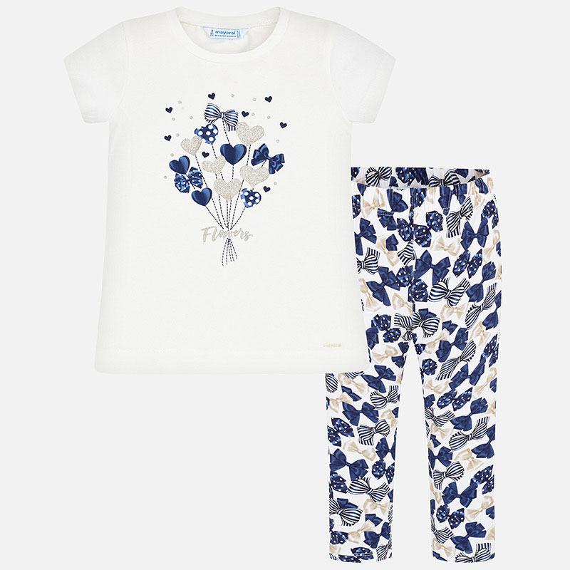 Mayoral-Комплект  блуза и клин с щампи и декорации