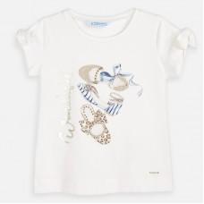 Mayoral-Блуза къс ръкав с принт папантофки и декоративни елементи