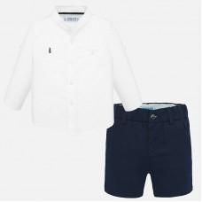 Mayoral-Комплект къси панталони с риза дълъг ръкав