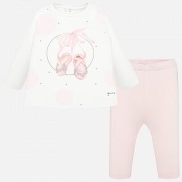 Mayoral-К-т  блуза с принт розови пантофки и клин
