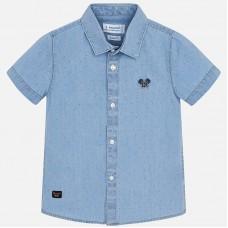 Mayoral-Риза къс ръкав деним с бродерия