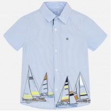 Mayoral-Официална риза с къс ръкав и принт платноходки