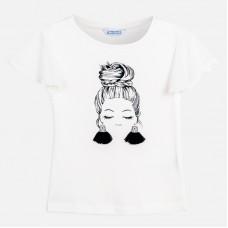 Mayoral-Тениска  къс ръкав с принт момиче с обеци