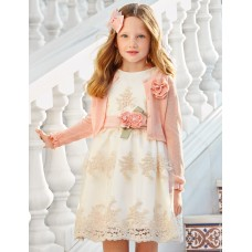 Mayoral-Официална рокля тюл с бродерия  цветя