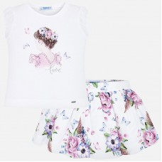Mayoral-Комплект блуза и къса пола с принт цветя