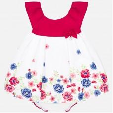 Mayoral-Официална бебешка рокля с принт цветя и гащички