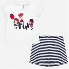 Mayoral-Комплект тениска и  панталоннки на райета за бебе момиче