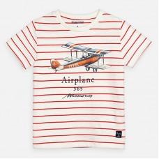 Mayoral-Тениска с къс ръкав на райета и принт самолет