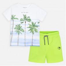 Mayoral-Комплект блуза с принт палми и бермуди