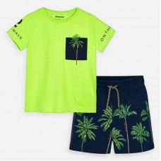 Mayoral-Комплект блуза с джоб и бермуди с принт палми