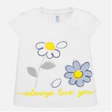 Mayoral-Блуза с къс ръкав  с цветя за бебе