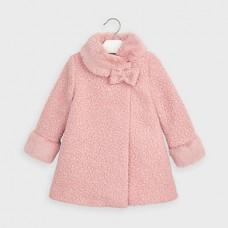 Mayoral-Вълнено палто с къдрав косъм-Руж
