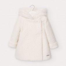 Mayoral-Вълнено палто с къдрав косъм-Крем