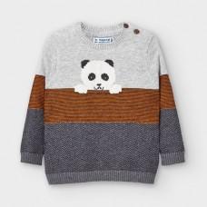 Mayoral-Пуловер с кръгло деколте на ленти-Айс вигоре