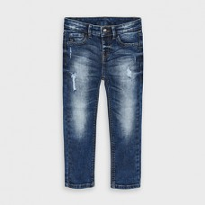 Mayoral-Дълъг дънков панталон-loose fit с разрези