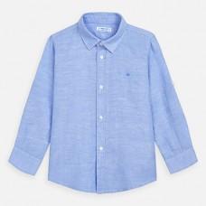 Mayoral-Риза с дълъг ръкав от лен-Небесносин
