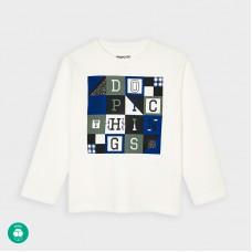 Mayoral-Тениска с дълъг ръкав  на букви-Сметана