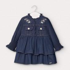 Mayoral-Дънкова рокля с волани-бебе