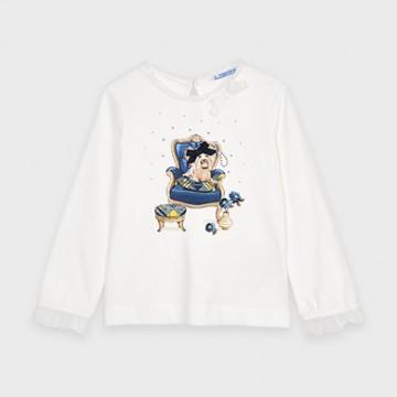 Mayoral-Тениска с дълъг ръкав и рисунка кученце-момиче