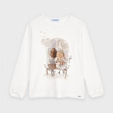 Mayoral-Тениска с дълъг ръкав и панделки на маншетите-момиче