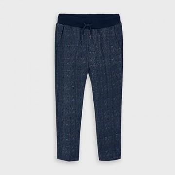 Mayoral-Плюшен панталон с щампи-Син вигоре