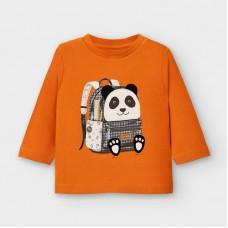 Mayoral- Тениска с дълъг ръкав и рисунка-панда с раница