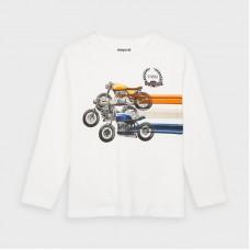Mayoral-Тениска с дълъг ръкав и рисунка състезание-Сметана