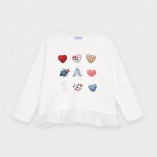 Mayoral-Тениска с дълъг ръкав и рисунка-сърца