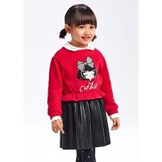 Mayoral-Комбинирана рокля от изкуствена кожа за момиче