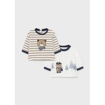 Mayoral- Бебешка блузка райе с щампа мече