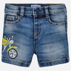 Mayoral-Къси дънкови панталони с принт мотор
