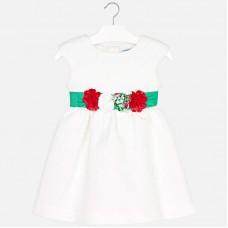 Mayoral-Бяла рокля с цветен колан